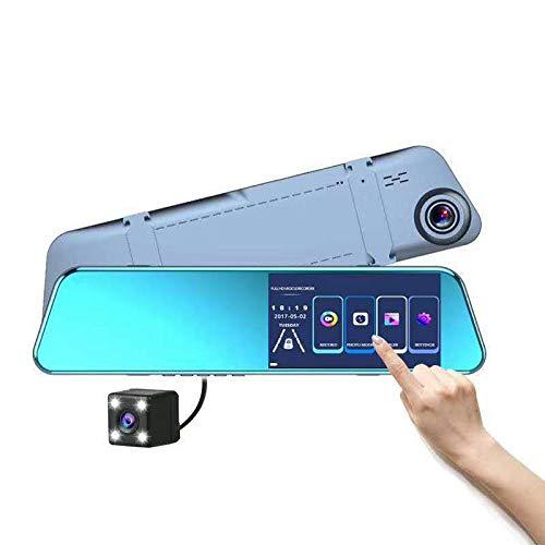 Pantalla Grande 2.5d Vidrio Frontal Y Trasera Doble Grabación Invirtiendo Imagen 1080p HD Grabadora Espejo Dvr Borde de Plata Negro