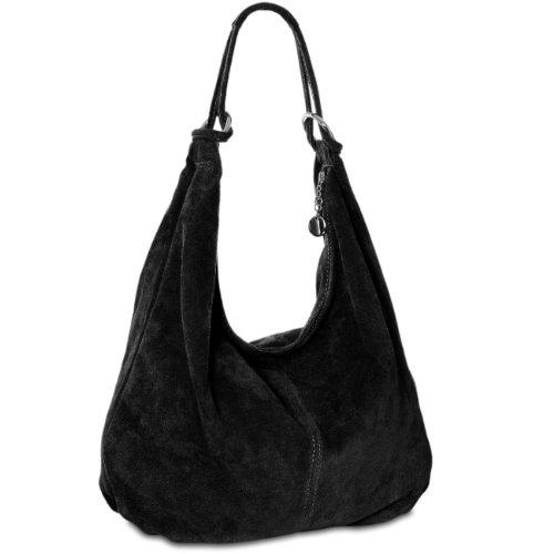 Caspar TL617 große Damen Vintage Veloursleder Tasche (schwarz)