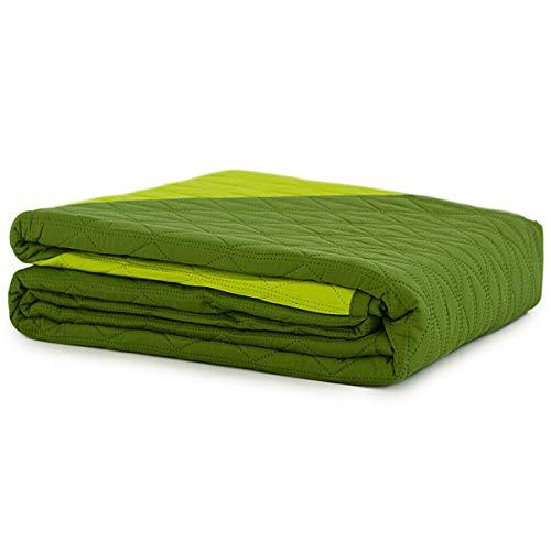 Caritex Copriletto Trapuntato Trapuntino Bicolore per Letto Singolo Una Piazza M608 Verde-Verde Mela