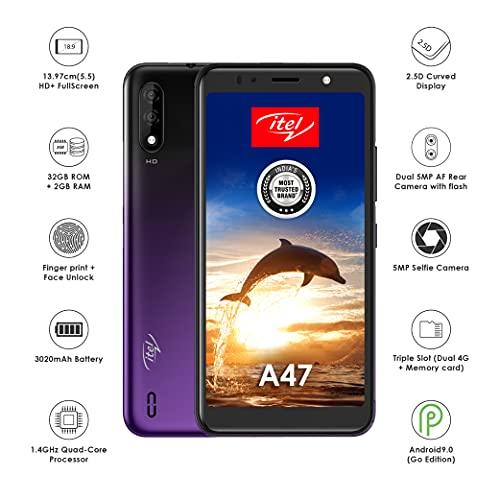 itel A47 (Cosmic Purple, 2GB RAM, 32GB Storage, 5.5'' HD+ IPS Display), L5505
