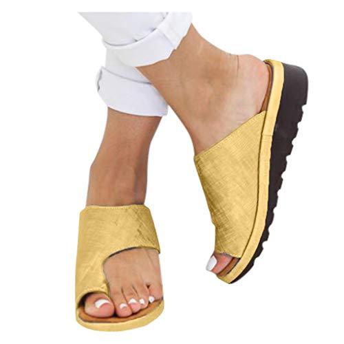 HROIJSL damen hausschuhe Frauen Open Toe Flache Pantoffeln Anti Rutsch Dusche Badeschuhe Hallux Valgus Unterstützung Plattform Sandale Schuhe Für Bunion Correct Modern Sommer Freizeit (1Gold, 40)