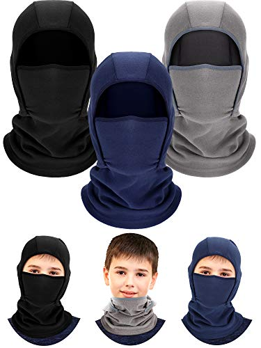 3 Pieces Kids Warm Hood Balaclava Winter Windproof Hat Ski Face Covering Balaclava Fleece Cap Scarf for Boy Girls Outdoor Sports (Black, Grey, Navy Blue)