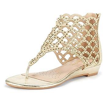 DREAM PAIRS Women s Jewel_08 Gold Rhinestones Design Ankle High Flat Sandals Size 9 M US