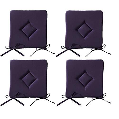 Lot de 4 Galettes de chaise à assise matelassée unie - Violet - 40x40x3.5cm - Today