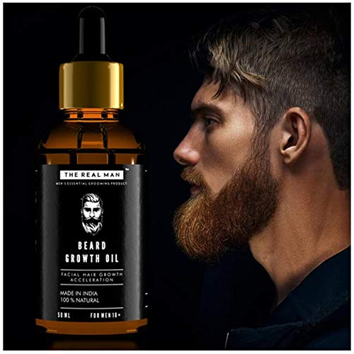Beard Growth Oil by THE REAL MAN. Men's Mustache & Beard Growth Oil,100% Natural & Organic, Conditioner & Softener for Men,50ml(1.69oz). Beard Care With Best Beard Oil - For Best Beard Look.