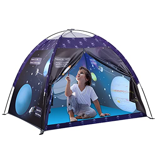 Kinder Spielzelt, Exqline Kinderzelt für Drinnen, Faltbare Galaxis Raumthema Kinder Zelt, Tragbare Pop up Zelt, Campingzelt für Junge, Tipi Zelt Geschenk für Kinder