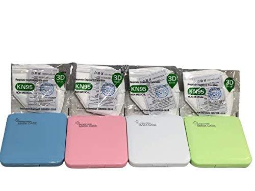 MAGIC SELECT 4xEstuche para mascarillas con 4MASCARAS DE Regalo/Caja para mascarillas (Multicolor, 4 Unidades) Rosa,Verde,Azul,Blanco Caja organizadora