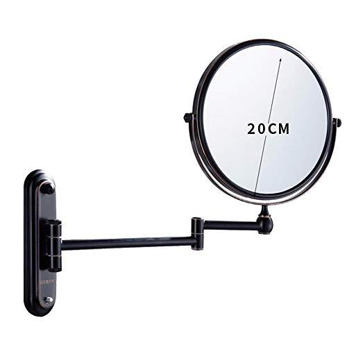 Ruixinshi 6 cm/8 Pouces Rétroviseur Rabattable Mural télescopique beauté,Miroir,Miroir Rond, Petit Miroir,Black Bronze-6 Pouces