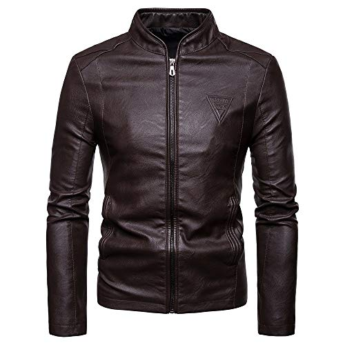 DaySeventh Fashion Men Autumn Winter Warm Casual Leather Zipper Long Sleeve Jacket Coat Top