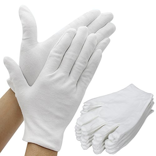 Amariver White Cotton Gloves, 6 Pairs 9.4'' Extra Large Size 12 Pcs Gloves