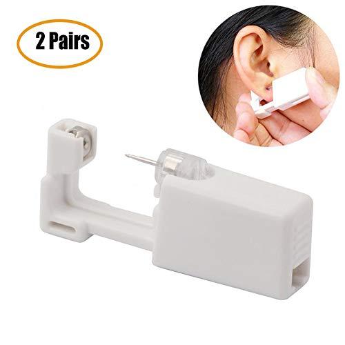 YOHAPPY 2 paar oor piercing pistool, wegwerp geen pijn veiligheidseenheid gereedschap met oorknopjes gezonde veiligheid oor neus lip piercing kit gereedschap voor meisjes vrouwen mannen