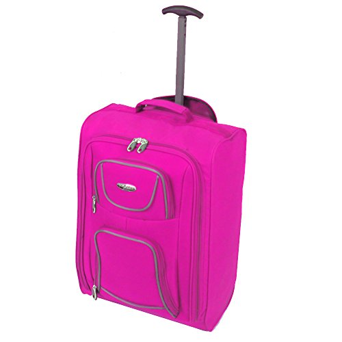 FlyGEAR Cabin Approved Super Lightweight Hand Luggage Travel Wheel Holdall Suitcase Bag Fits Easyjet Ryanair & Many More - 1.3k - 41 litres Pink