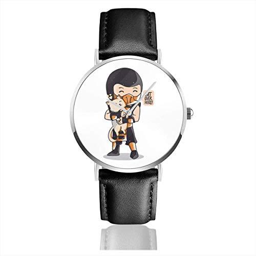 Unisex Business Casual Cute Get Over Here Mrotal Kmobet Relojes Reloj de Cuero de Cuarzo