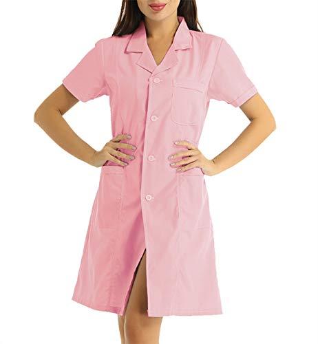 iixpin Krankenschwester Kostüm für Damen Arztkittel Medizin Pflege Uniform Doktor Ärztin Kostüm Frauen Cosplay Kostüme Verkleidung Rosa X-Large