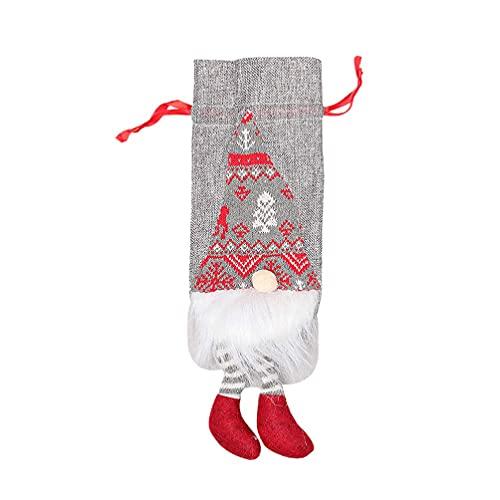 BARUCHT Funda para botella de vino reutilizable con cordones decorativos para botellas de vino, bolsas para fiestas, Navidad, color gris claro