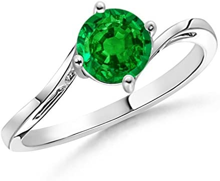 Classic New mail order Max 65% OFF Round Emerald Solitaire 6mm Bypass Ring
