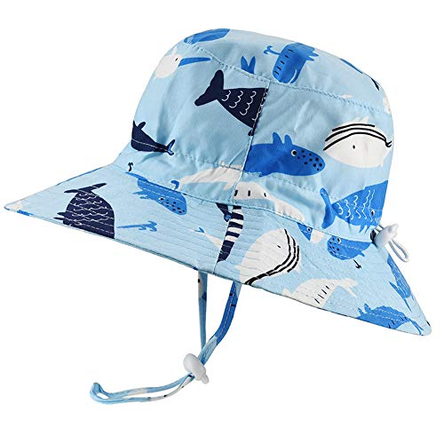 Baby Sun Hat Adjustable - Outdoor Toddler Swim Beach Pool Hat Kids UPF 50+ Wide Brim Chin Strap Summer Play Hat (19.7'(50cm)/12-24 Months, Light Blue Whale)