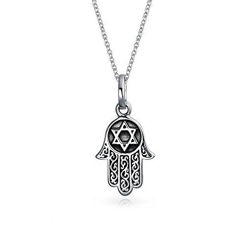 Filigrana Hamsa Mano De Dios Estrella De David Colgante Collar Para Mujer Adolescente Oxidado Negro Plata Esterlina 925