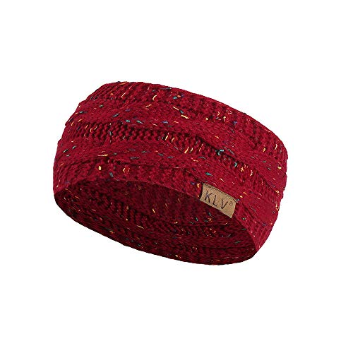 Yowablo Männer Frauen Haarball Knitting Stirnband Elastic Handmade Sport Haarband Turban (1Weinrot)