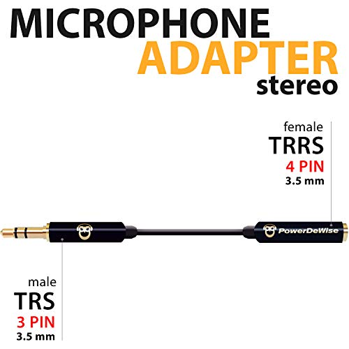 TRRS to TRS Aux Male to Female Adapter Stereo - TRRS Adapter for iPhone and Android - Microphone 3.5mm Jack Adapter - Male Female Adapter for Lavalier Lapel Microphone