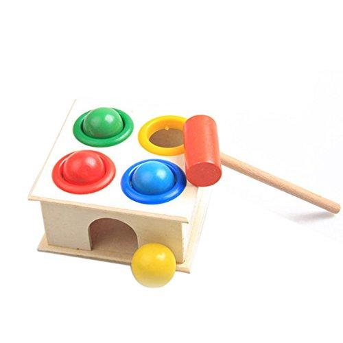 Torre giocattolo in legno per bambini con martello, giocattolo educativo per bambini per l'apprendimento precoce, martello con palline in legno a forma di martello, blocchi geometrici per bambini