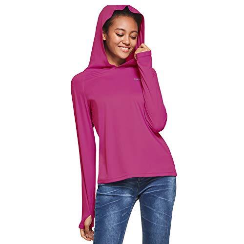 Ogeenier Damen UV Shirt mit Kapuze Sonnenschutz Langarm Shirt Funktionsshirt Sun Hoodie mit Daumenloch