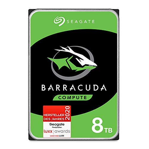 Seagate Barracuda, interne Festplatte 8 TB HDD, 3.5 Zoll, 5400 U/Min, 256 MB Cache, SATA 6 Gb/s, silber, FFP, Modellnr.: ST8000DMZ04, (Verpackung kann variieren)
