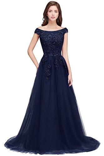 Damen Tüll Brautjungfernkleid A-Linie Trauzeuginkleid mit Applique Rückendfrei lang Navyblau 46