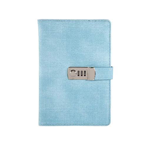 Zixin Cuadernos A5 con Cerradura de combinación (Diario con Cerradura de combinación), Tamaño: 150 * Piel 220mm.PU Multicolor de Cerradura de combinación Superior de Papel Grueso (Color: Marrón)
