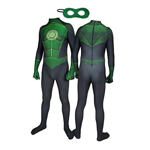 WEIR Disfraz de Cosplay de Linterna Verde Mono de superhéroe Trajes de Juego de rol de Halloween Mono de actuación de Mascarada,B-120cm~130cm