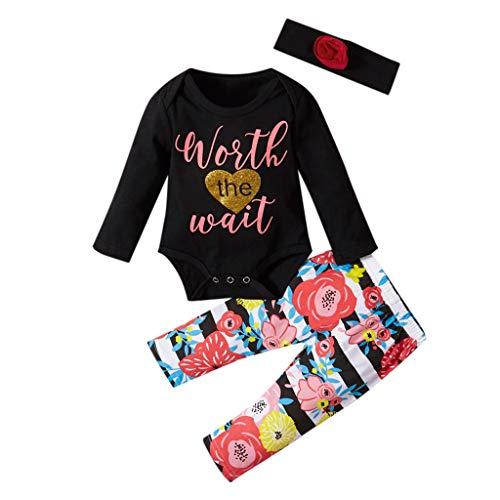 HSKB Baby Lange mouwen brief shirt katoen bont print borduurwerk robe jurk bedrukte broek haarband set