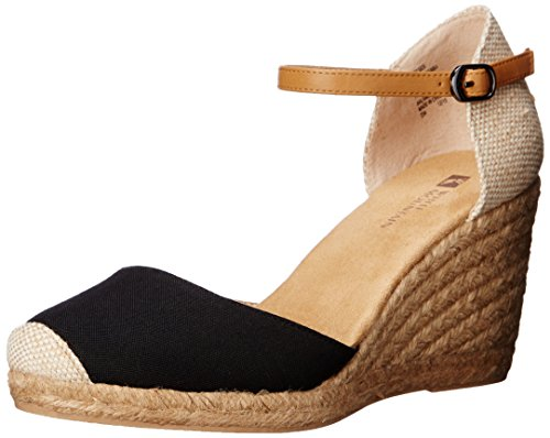 WHITE MOUNTAIN Shoes Mamba Women's Espadrille Wedge, Black/Fabric, 7 M