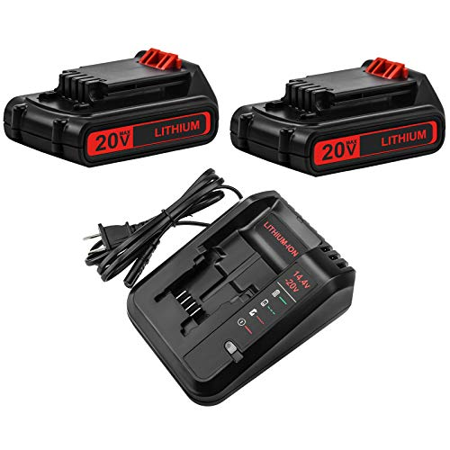 2 Packs 20 Volt 3.0Ah LBXR20 Battery and Charger Compatible with Black and Decker 20V Lithium Battery LB20 LBX20 LBXR2020-OPE LB2X4020
