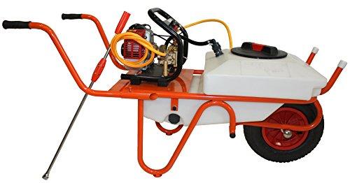 Bricoferr BF223405 Carretilla fumigadora de 50 litros con motobomba, 10 mt, manguera, 1 rueda