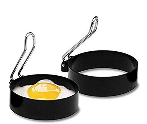 2個入り 目玉焼き金型 卵フライヤー ハンドル付き 目玉焼きの金型 エッグリング ステンレス製 お菓子作り 手作り DIY お手入れ簡単 愛の朝食を楽しみ簡単使い 収納便利 可愛い