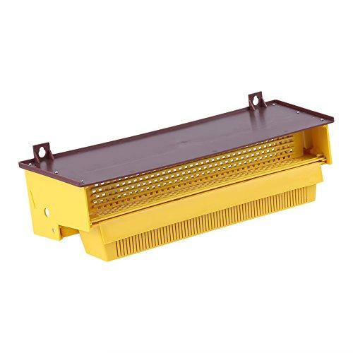 Walfront Imkerei Plastik Pollenfalle Gelb Mit Abnehmbarem Belüftet Pollen Behälter Kollektor Versorgungsmaterialien Werkzeuge, 39 × 14 × 10cm