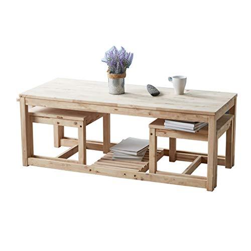 Tables basses en Bois Massif Moderne Minimaliste avec tiroir Table Salon Table de Loisirs Petite (Color : Beige, Size : L)