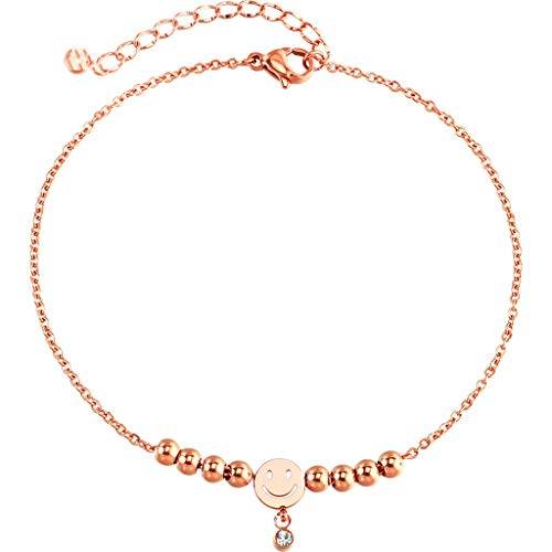 XUQIANG Fußkettchen Mode einfache persönlichkeit quaste Ball Smiley Rose Gold fuß Ring Paar schmuck zubehör Geschenk Armband