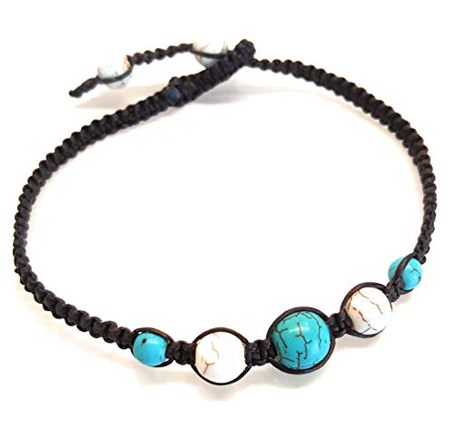 Infinity Turquoise Howlite Anklet Bracelet Macrame Braided Woven Wax Cord Adjustable Anklet for Men, Women, teengirls -NYAKTQ1
