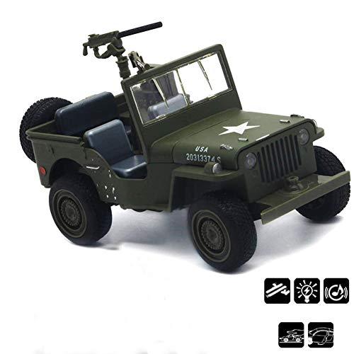Multi-purpose off-road voertuig auto Toy Gegoten Metaal Militair Voertuig Model 1:32 schaalmodel met geluid LED Light for Boys peuters Gifts Collection