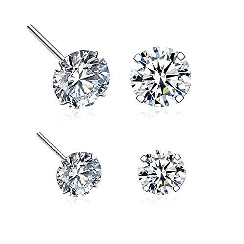 AhGuwa - 2 Pares Pendientes Plata de Ley 925, Circonita con Diseño Diamante, para Hombre Mujer de Aniversario, Navidad, San Valentin.