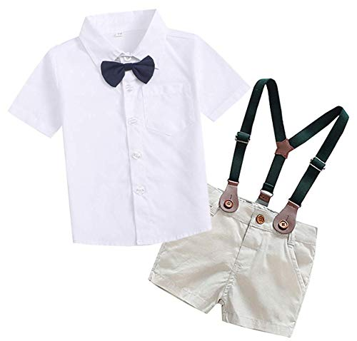 SANGTREE Baby Boys Summer Gentlemen Outfit, Dress Shirt with Bow Tie + Suspender Shorts Clothes for Toddlers Baby & Little Boys, White, Tag 100 = 18-24 Months