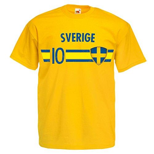 Fußball WM T-Shirt Fan Artikel Nummer 10 - Weltmeisterschaft 2018 - Länder Trikot Jersey Herren Damen Kinder Schweden Sverige Sweden M
