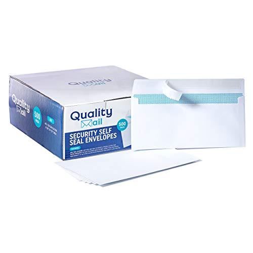 Self Seal Security Mailing Envelopes - #10 White Letter Businesses Envelopes -500 Peel and Seal Tinted Windowless # 10 Bulk Envelope - Printer Friendly - Self Stick Envelops - 500 Pack