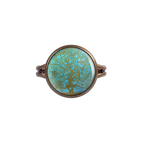 Mylery Ring mit Motiv Lebens-Baum Welten-Baum Baum des Lebens Heil-Stein Türkis Bronze 14mm