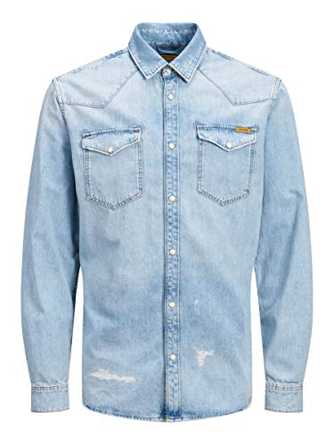 JACK & JONES Herren JJIJAMES JJSHIRT CJ 092 NOOS Jeanshemd, Blau (Blue Denim Blue Denim), Medium (Herstellergröße: M)