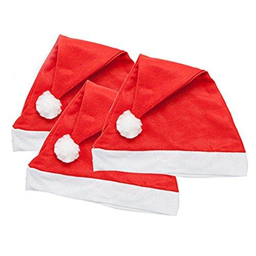 Bonnets de Père Noël rouges traditionnels en feutre, Red, Taille unique