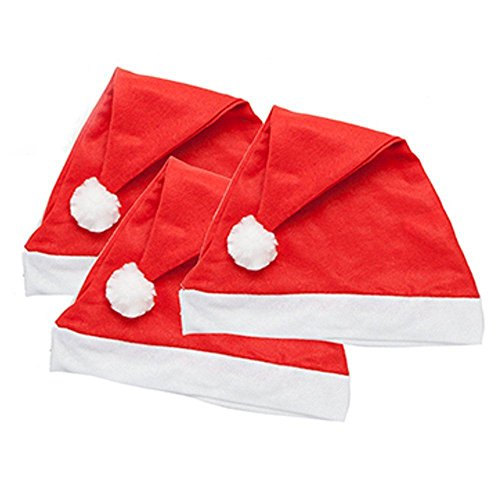 Bonnets de Père Noël rouges traditionnels en feutre, Red, Taille unique