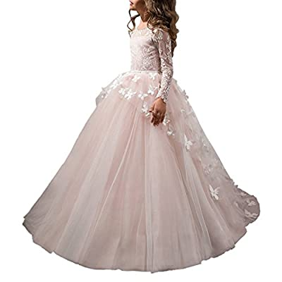 Abaowedding Flower Girls' Dress for Wedding Butterflies Long Sleeve Princess Dress