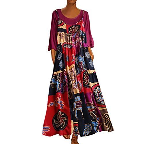 Lialbert Vintage Rundhals Strap DressBlumenmuster Dame Camisole-Kleid Boho GroßE 2 Pack GrößE LangäRmliges Zweiteiliger Elegant RüSchen Swing-Kleid Rock Schwingendes Maternity Rosa